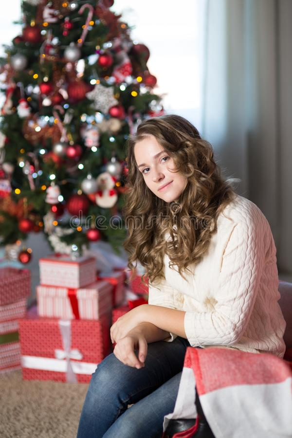 Teen girl in a room for Christmas royalty free stock image