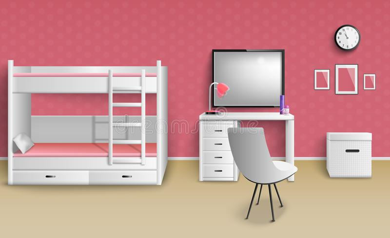 Teen Girl Room Realistic. Teen girl room interior realistic image with furniture lamp clock bunk bed desk whiteboard chair vector illustration royalty free illustration