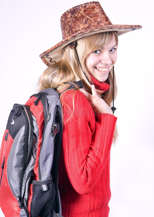 Download Teen girl with rucksack stock image. Image of smile, laugh - 20739575