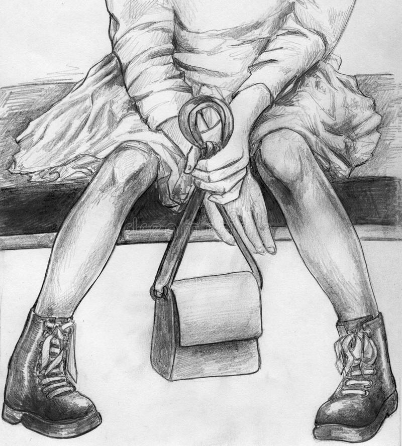 Teen girl seated on the coach. Hand drawn pencil sketch of a teen girl seated on the coach with a little bag in her hands. She is wearing dress and warm boots vector illustration