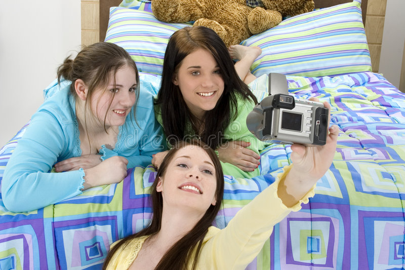 Teen Girl Slumber Party stock photo