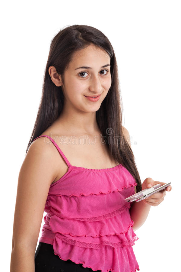 Download Teen girl with smartphone stock photo. Image of race - 25383334