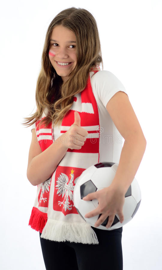 Download Teen girl soccer fan stock image. Image of entertainment - 24885893