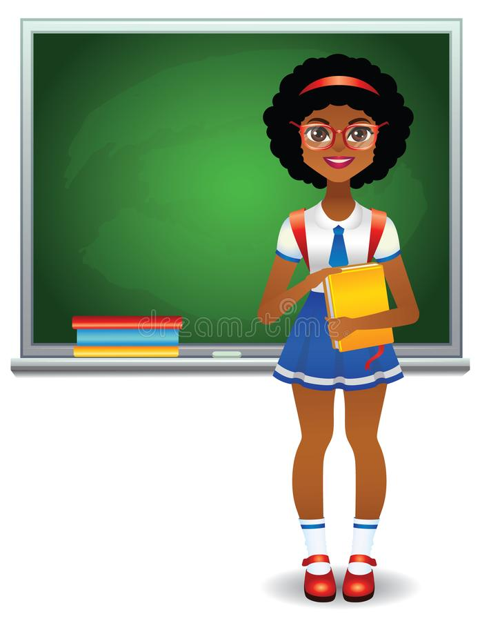 Teen girl standing in front of green school board with books stock illustration