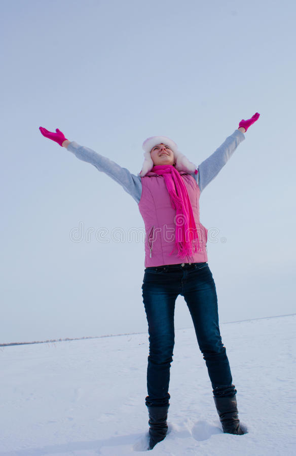 Download Teen Girl Staying With Raised Hands Royalty Free Stock Photography - Image: 23079997