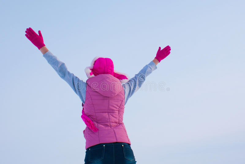 Download Teen Girl Staying With Raised Hands Stock Image - Image: 23080019