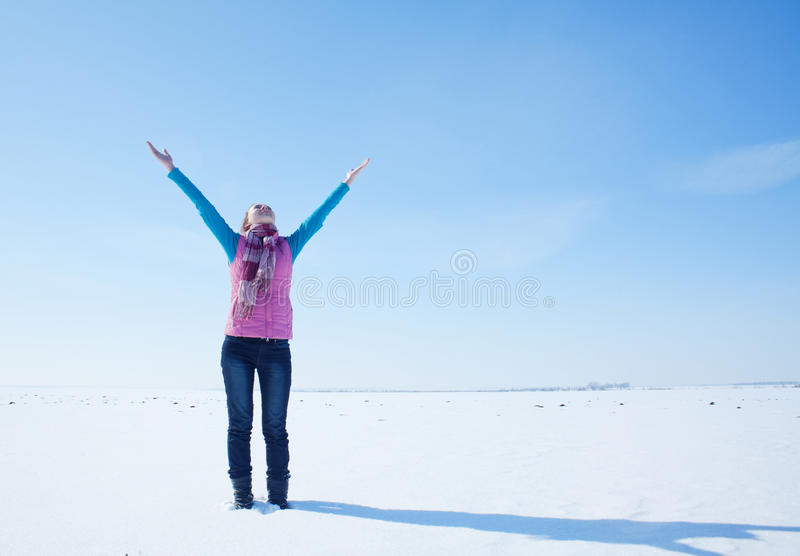 Download Teen Girl Staying With Raised Hands Stock Image - Image: 23793969