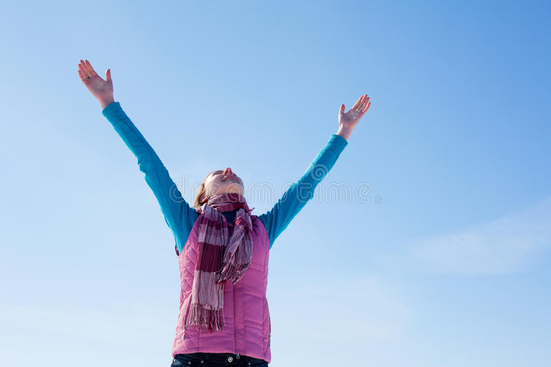 Download Teen Girl Staying With Raised Hands Stock Photo - Image: 23921444