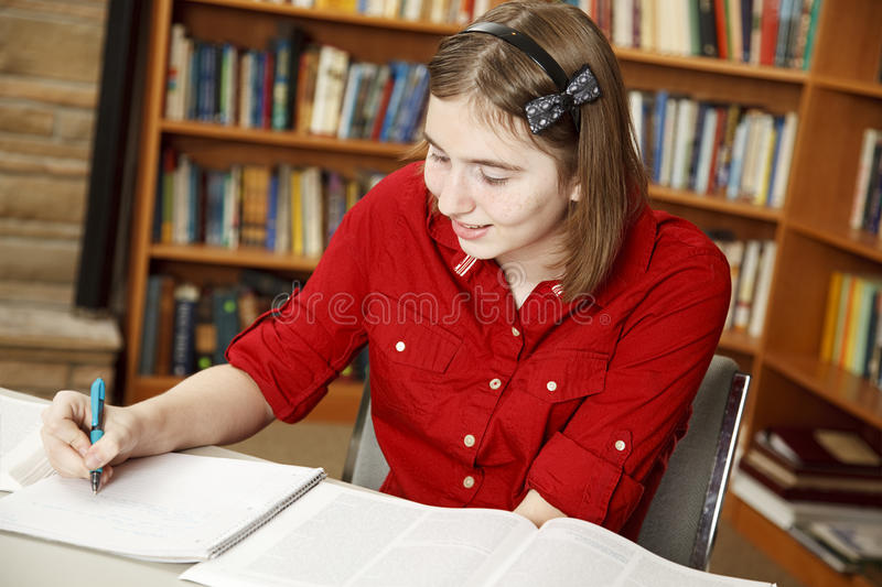 Download Teen Girl Studies stock image. Image of library, learning - 16612203
