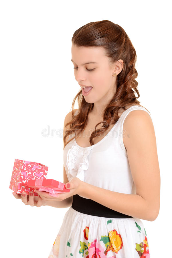 Download Teen Girl Surprised With Valentines Gift Stock Image - Image of cheerful, attractive: 28445811
