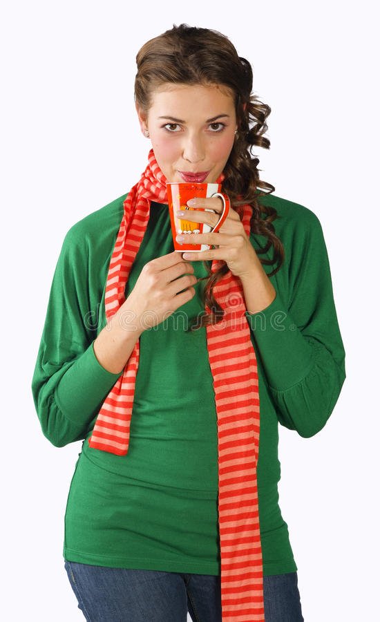 Download Teen girl with tea cup stock image. Image of young, happy - 12722997