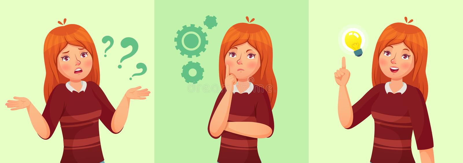 Teen girl think. Confused young female teenager, thoughtful girl student and answering question vector cartoon. Teen girl think. Confused young female teenager vector illustration