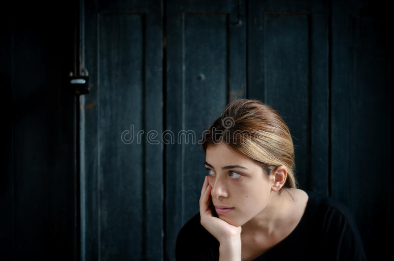 Teen Girl Thinking stock image