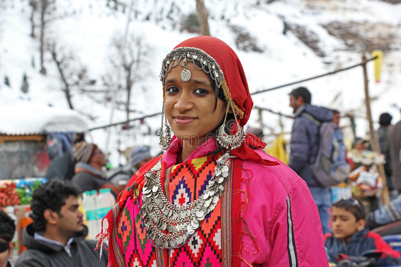 Teen Girl in Traditional Dress of Kullu Valley stock photo