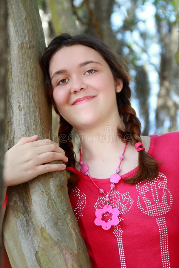 Download Teen girl tree stock image. Image of cheerful, relax - 25063403