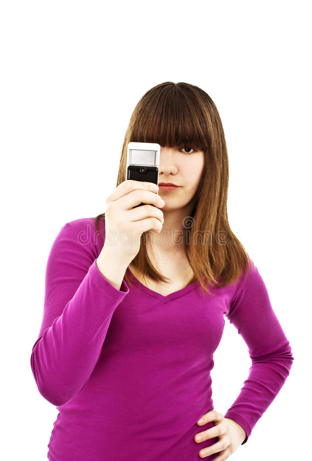 Download Teen girl using cell phone stock image. Image of female - 19390849