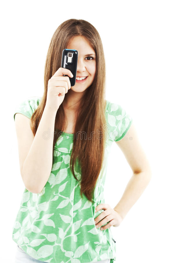 Download Teen girl using cell phone stock photo. Image of adult - 19706096