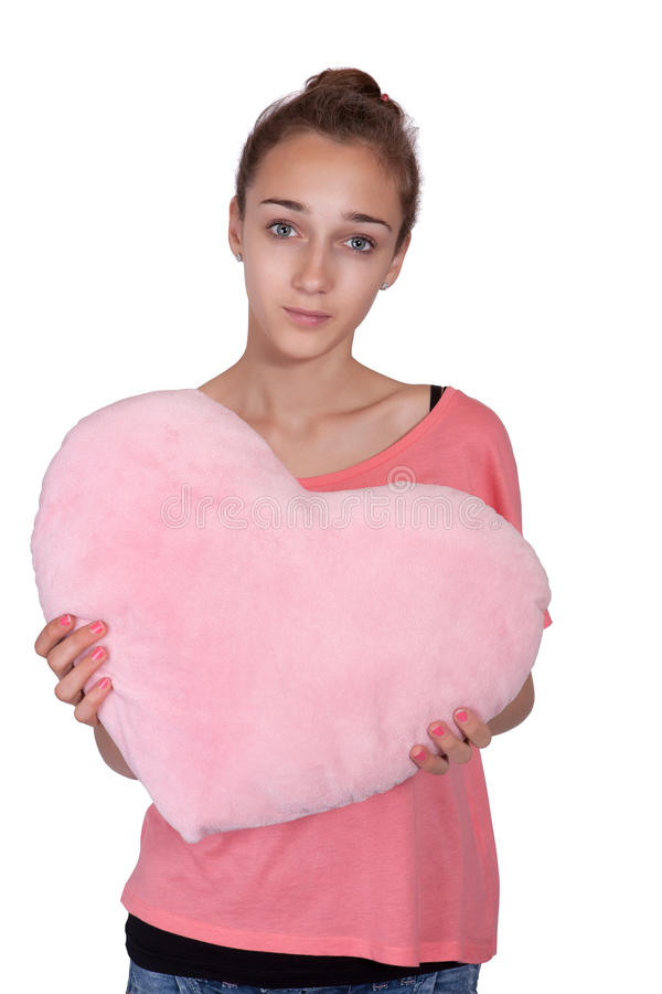 Download Teen Girl With Valentine Pink Heart Stock Image - Image of person, passion: 25075397