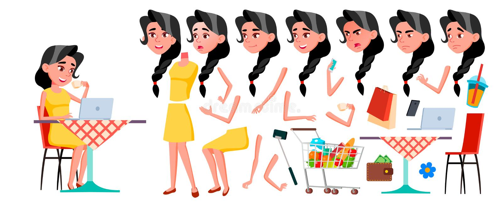 Teen Girl Vector. Animation Creation Set. Face Emotions, Gestures. Face. Children. Animated. For Advertising, Booklet. Placard Design Cartoon Illustration royalty free illustration