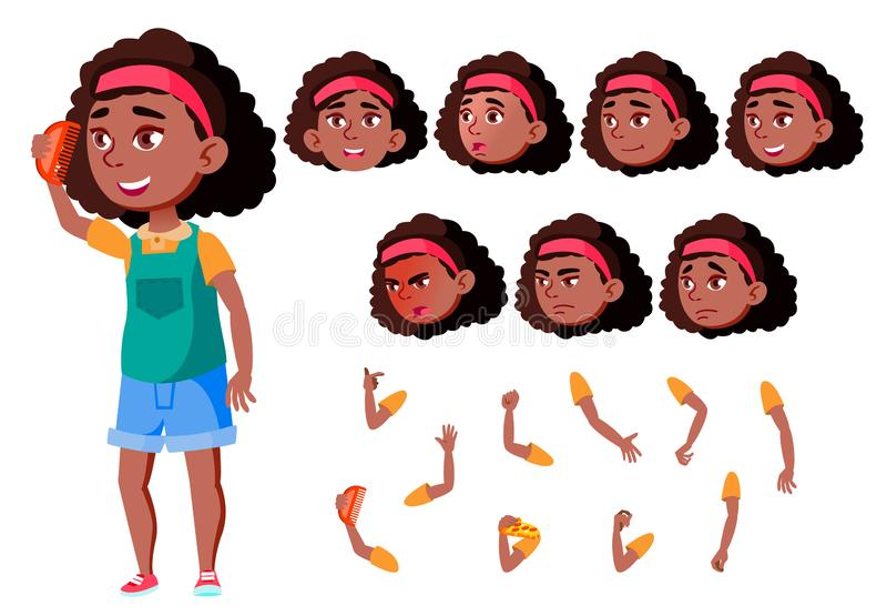 Teen Girl Vector. Black. Afro American. Teenager. Cute, Comic. Joy. Face Emotions, Various Gestures. Animation Creation royalty free illustration