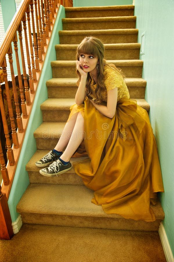 Free Teen Girl With Formal Prom Gown And Sneakers Stock Photo - 34051780