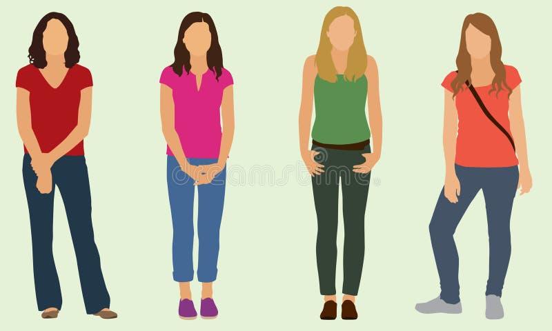 Teen Girls. Four high school-aged teen girls dressed casually stock illustration