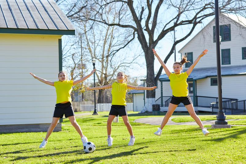 Teen girls exercise workout at park stock photography
