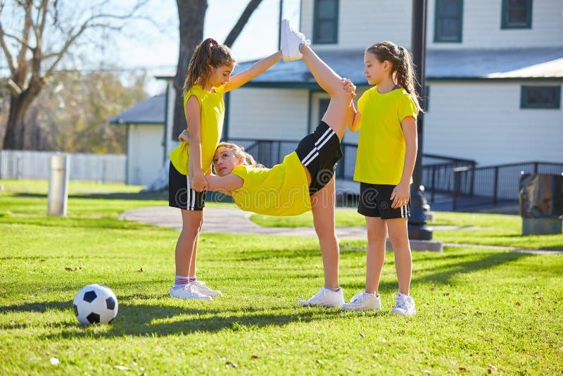 Teen girls exercise workout at park stock photos
