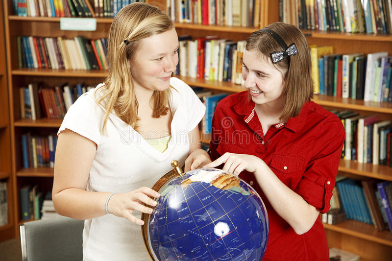 Download Teen Girls with Globe stock image. Image of school, smiling - 16786039