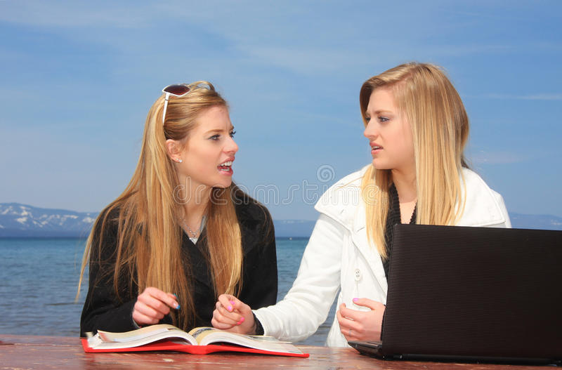 Teen Girls Studying Stock Images