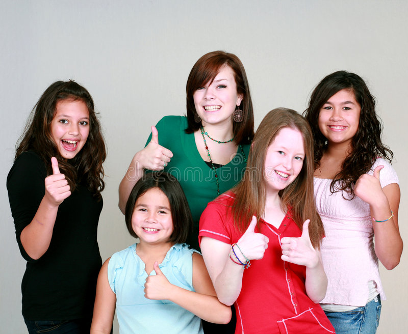 Download Teen girls with thumbs up stock image. Image of attitude - 7235857