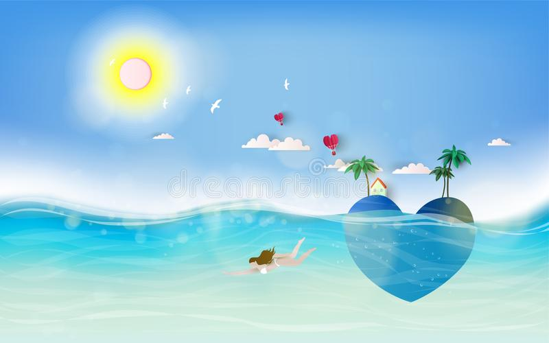 Teen girls in under water. Summer sunset with tropical paradise heart shaped romantic island royalty free illustration