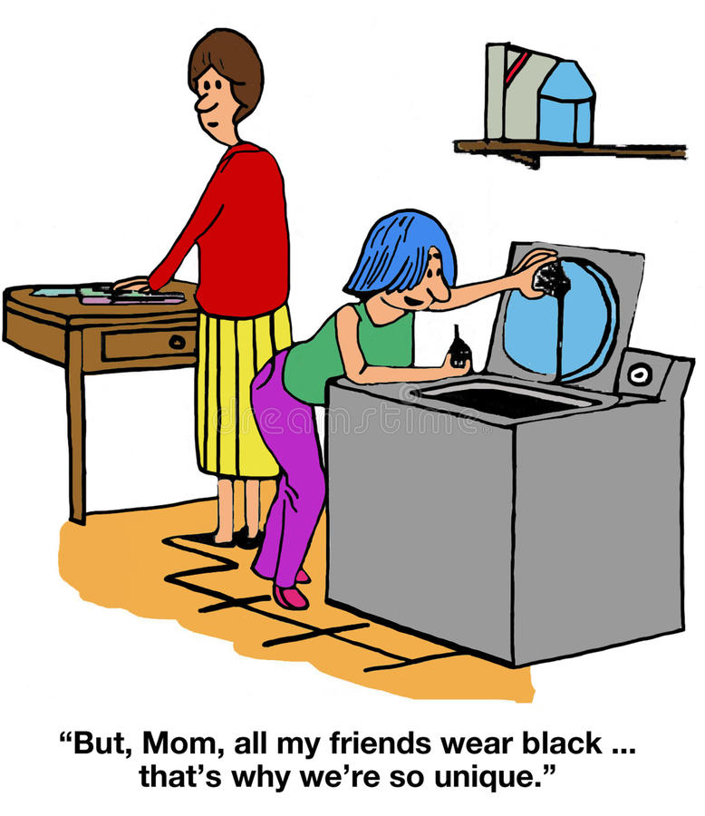 Teen Girls Are Unique. Family cartoon of a teen girl in a laundry room saying to her mother, 'But, Mom, all my friends wear black. that's why we're so unique vector illustration