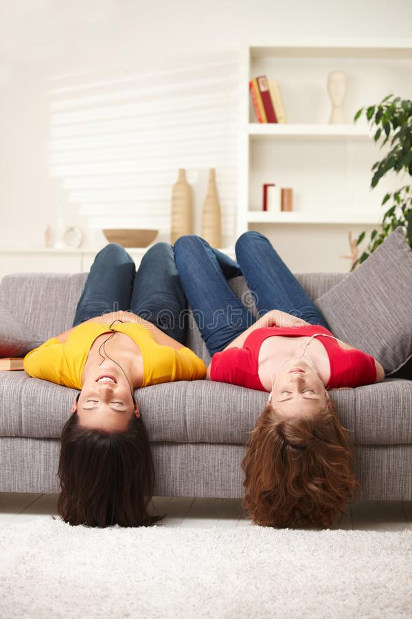 Download Teen girls upside down stock image. Image of contemplation - 13005389