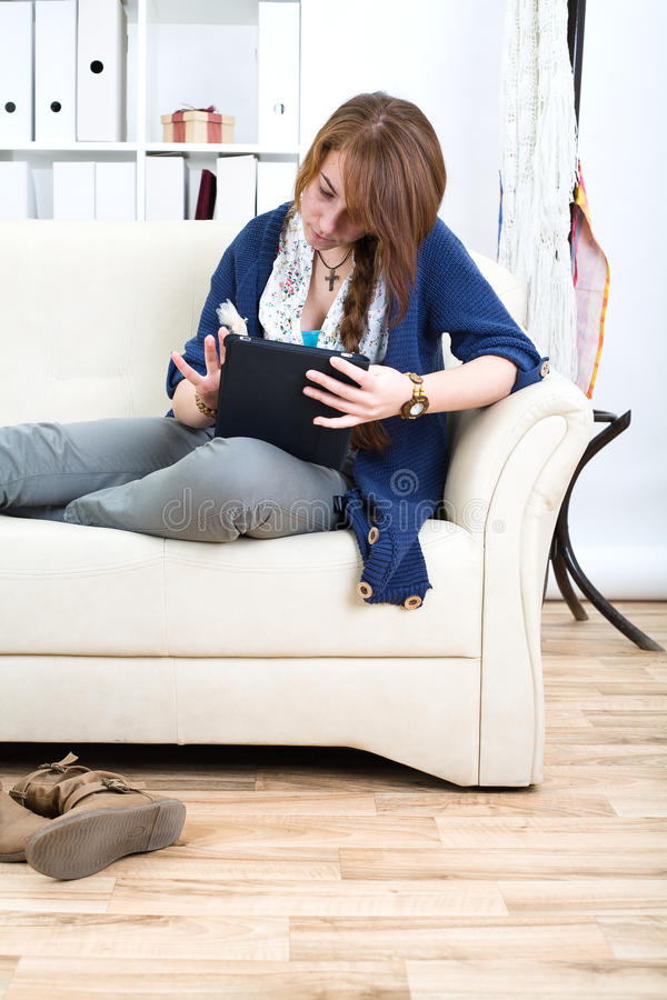 Download Teen gorl and tablet stock photo. Image of nice, teen - 23487688