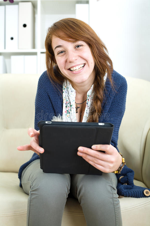 Download Teen gorl and tablet stock image. Image of beautiful - 23487717