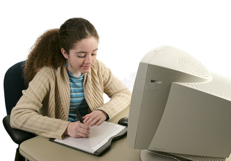 Download Teen & Graphics Tablet 1 stock photo. Image of girl, educational - 455420