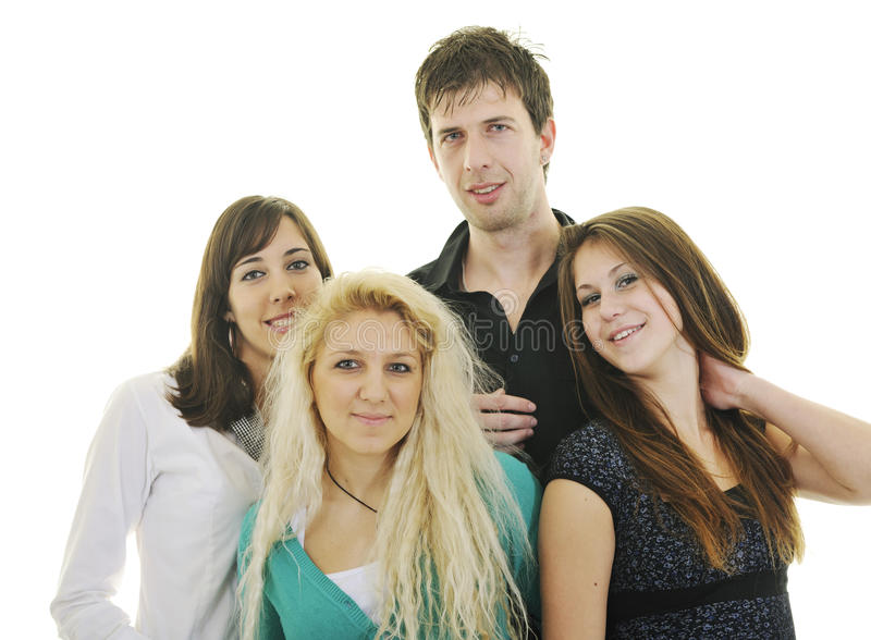 Teen group isolate royalty free stock photo
