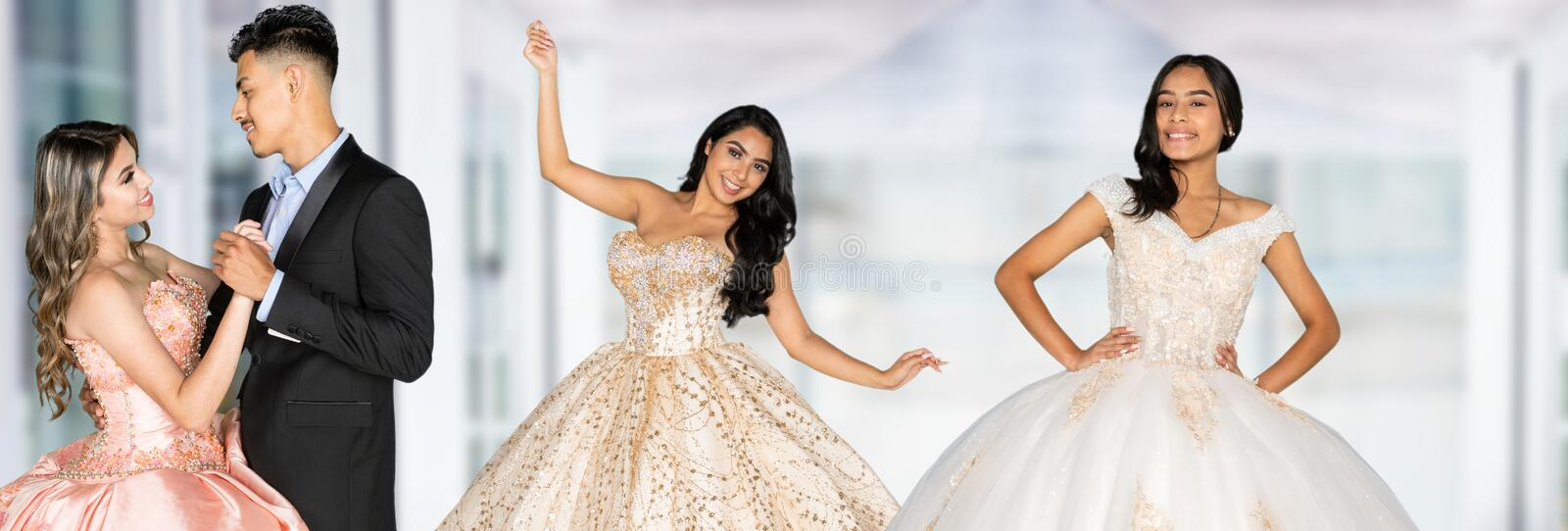 Teen Girls At Quinceanera. Teen hispanic girl going to her quinceanera or prom stock images