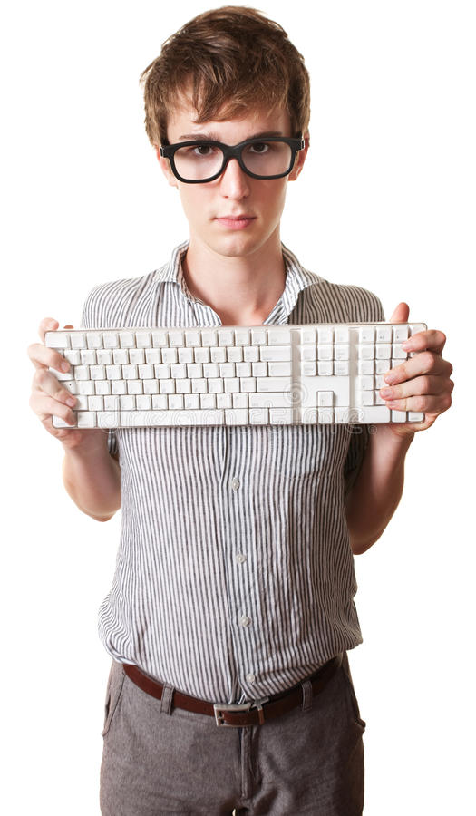 Download Teen Holds Computer Keyboard Stock Image - Image: 21024271