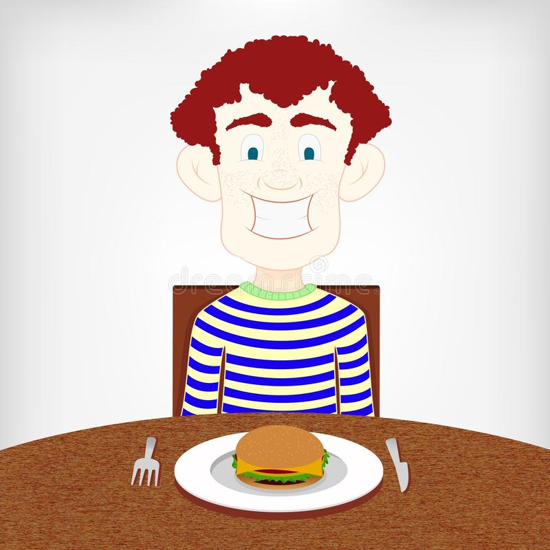Teen hungry for a burger. Hungry smiling boy sitting at the table to eat a burger stock illustration