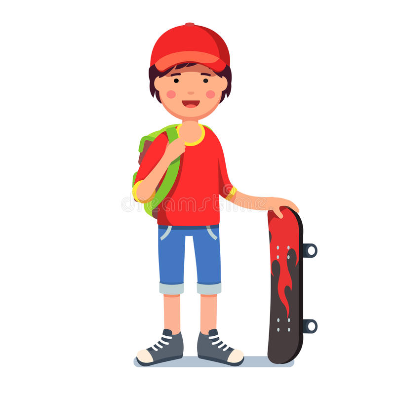 Teen kid boy in cap with backpack and skateboard. Teen kid boy in baseball cap wearing backpack standing and holding skateboard with fire print. Young hipster stock illustration