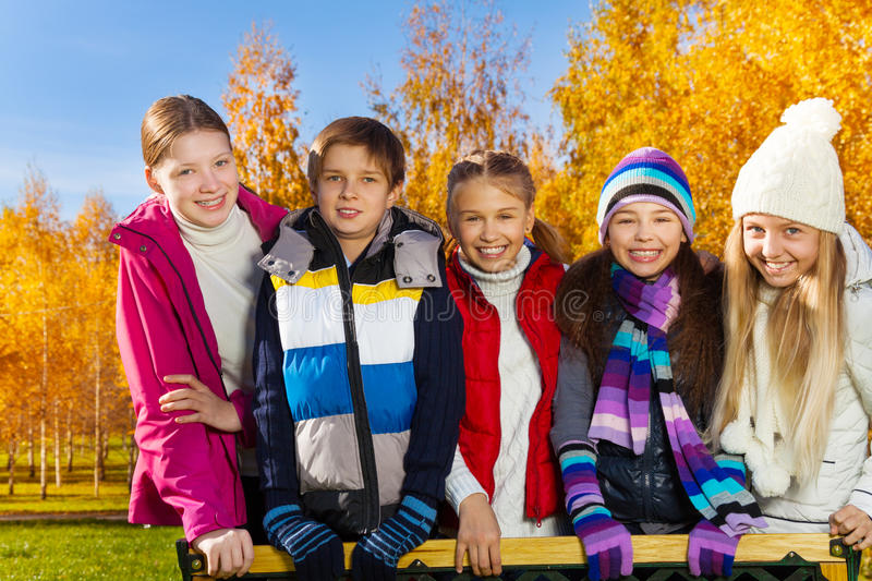 Download Teen kids in autumn park stock photo. Image of pretty - 35575870