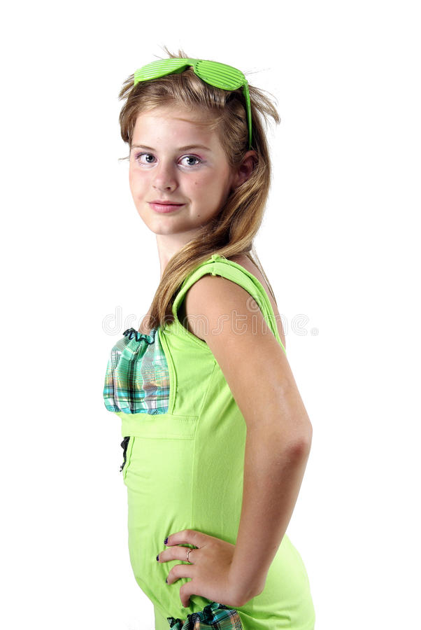 Teen lady in shutter shades stock images