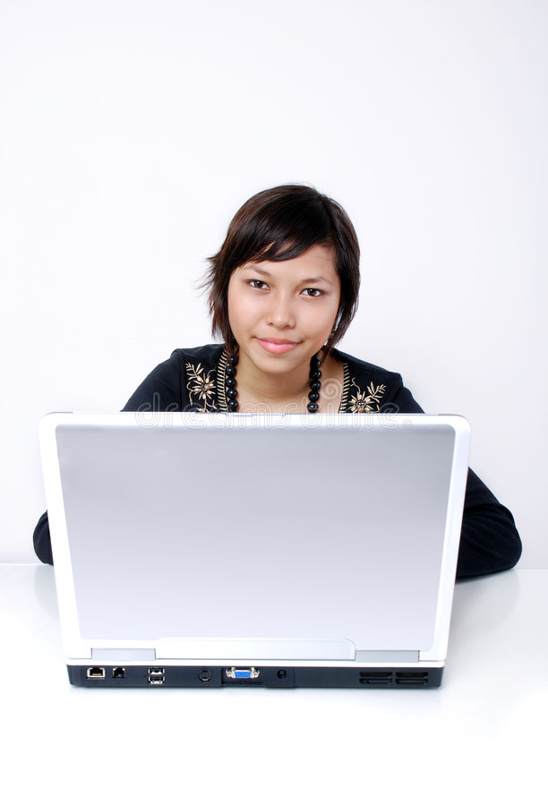 Teen with laptop royalty free stock photography
