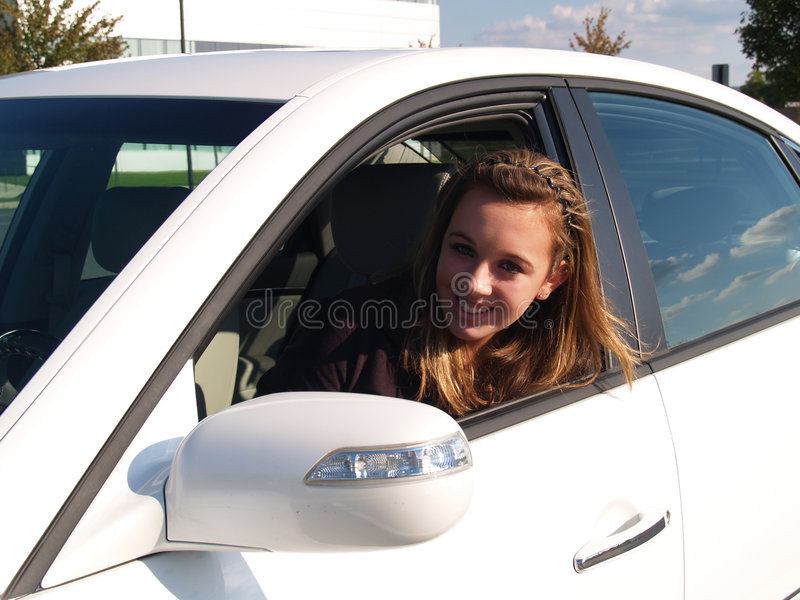 Teen learning to drive royalty free stock images