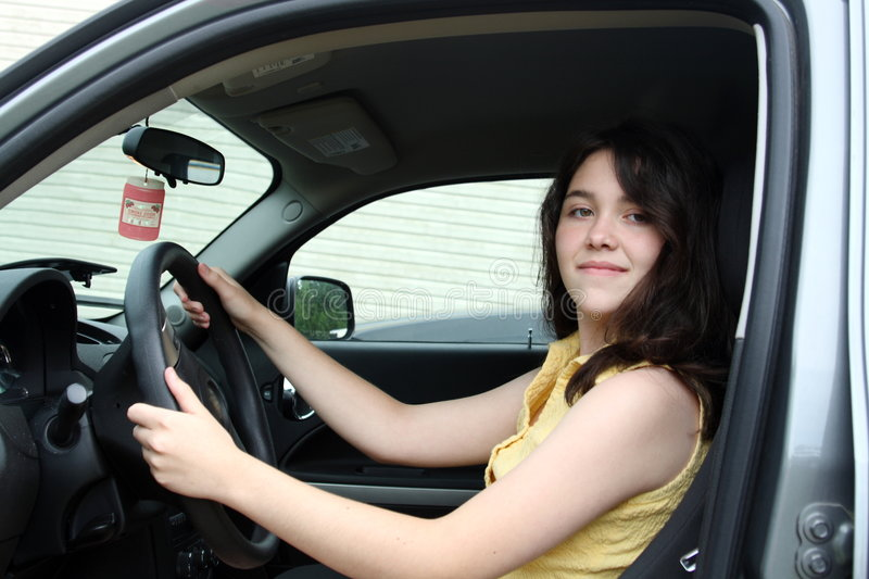 Teen Learning To Drive A Car Stock Photo Image Of Smiles