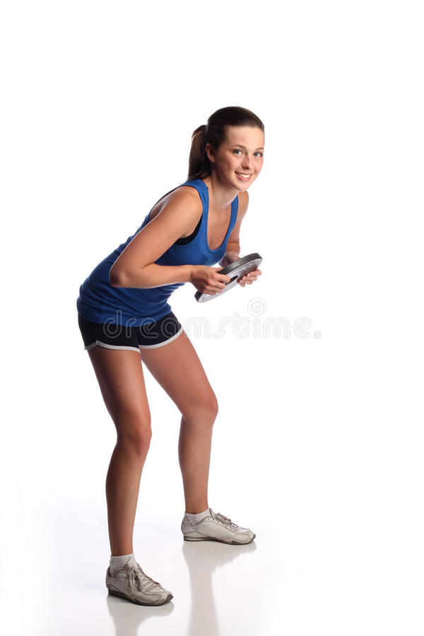 Teen lifting weights royalty free stock photo