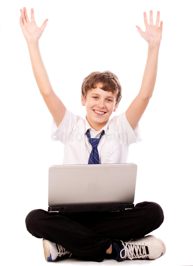 Teen lyckligt för bärbar dator royaltyfria foton