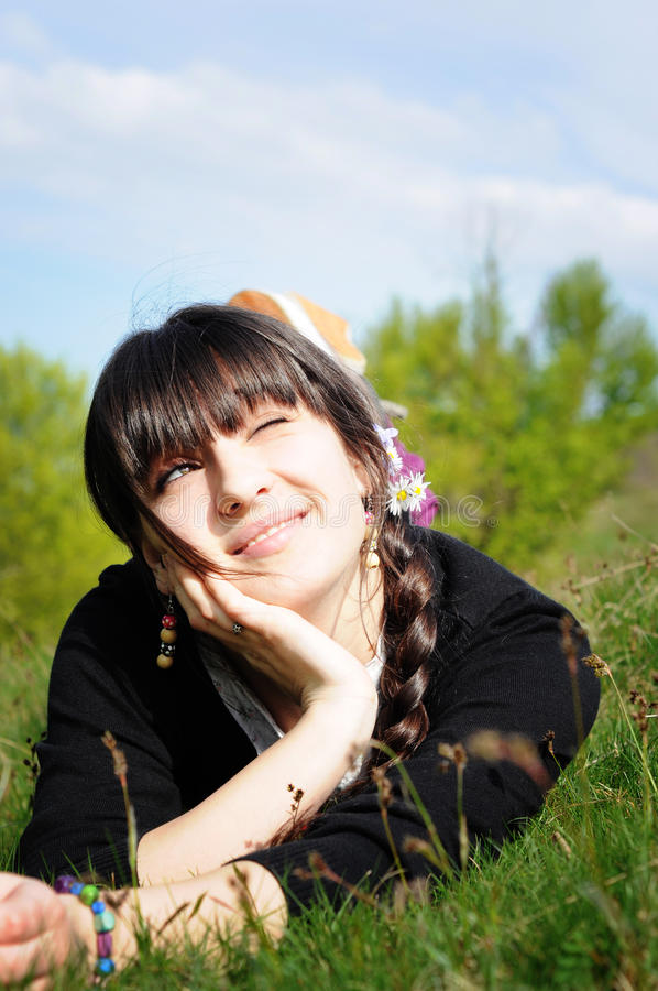 Download Teen Lying On Grass Thinking Stock Photo - Image: 19298204